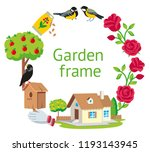 garden round frame cartoon... | Shutterstock . vector #1193143945