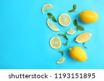 fresh lemons and green leaves... | Shutterstock . vector #1193151895