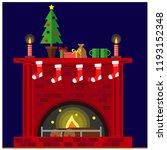 christmas fireplace room... | Shutterstock .eps vector #1193152348