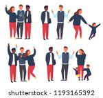 family with kids compare to... | Shutterstock .eps vector #1193165392
