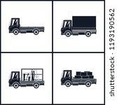 black silhouette small trucks... | Shutterstock .eps vector #1193190562