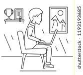 freelancer boy home concept... | Shutterstock .eps vector #1193193685