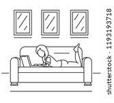 woman freelancer sofa concept... | Shutterstock .eps vector #1193193718