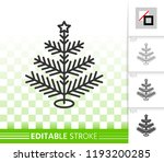 christmas tree thin line icon.... | Shutterstock .eps vector #1193200285