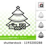christmas tree thin line icon.... | Shutterstock .eps vector #1193200288