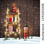 christmas theme  wooden ladder...   Shutterstock .eps vector #1193201608