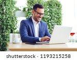 portrait of a businessman using ...   Shutterstock . vector #1193215258