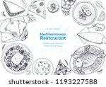 mediterranean cuisine top view... | Shutterstock .eps vector #1193227588