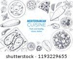 mediterranean cuisine top view... | Shutterstock .eps vector #1193229655