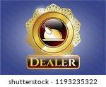 golden emblem with chicken... | Shutterstock .eps vector #1193235322