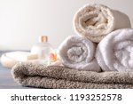 stack of clean soft towels with ... | Shutterstock . vector #1193252578