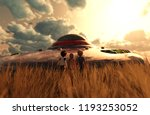 children's looking to a ufo... | Shutterstock . vector #1193253052