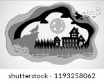 paper cut. wolf and full moon   Shutterstock .eps vector #1193258062