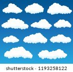 set with white clouds on blue... | Shutterstock . vector #1193258122