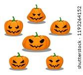 set of six pumpkins of... | Shutterstock .eps vector #1193264152