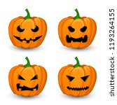 a set of four evil pumpkins for ... | Shutterstock .eps vector #1193264155