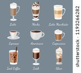 coffee set. different type of... | Shutterstock .eps vector #1193266282