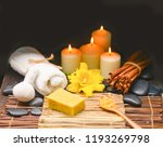 spa setting on mat with towel ...   Shutterstock . vector #1193269798