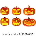 set of six pumpkins for... | Shutterstock .eps vector #1193270455