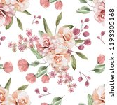 Stock photo seamless background with flowers and leaves floral pattern for wallpaper paper and fabric 1193305168