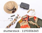 fashion sundress with handbag ... | Shutterstock . vector #1193306365