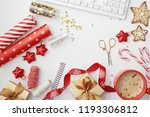 christmas home office desk with ... | Shutterstock . vector #1193306812