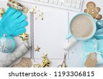 christmas home office desk with ... | Shutterstock . vector #1193306815