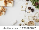 christmas workspace with... | Shutterstock . vector #1193306872
