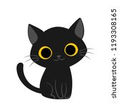Stock vector vector illustration of cute happy black cat with yellow eyes 1193308165