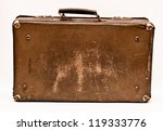 Old Shabby Brown Suitcase With...