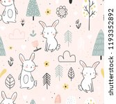 Stock vector seamless pattern with cute white bunnies in the forest on a light pink background vector 1193352892