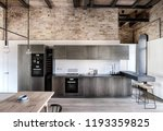 kitchen in a loft style with... | Shutterstock . vector #1193359825