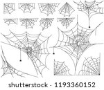 black spiders and different web ... | Shutterstock .eps vector #1193360152