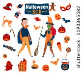 halloween set with isolated... | Shutterstock .eps vector #1193365582