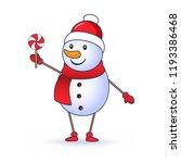 cute snowman holding a lollipop ... | Shutterstock .eps vector #1193386468