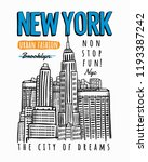 new york city theme vector... | Shutterstock .eps vector #1193387242