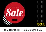 black and red banner.  sale... | Shutterstock .eps vector #1193396602