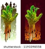 cartoon scary green zombie... | Shutterstock .eps vector #1193398558