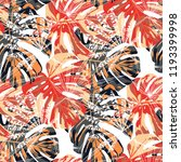 exotic leaves. seamless pattern ... | Shutterstock .eps vector #1193399998