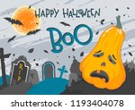 halloween poster with lettering ... | Shutterstock .eps vector #1193404078