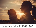 mother and baby son  playing in ... | Shutterstock . vector #1193411968