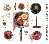 mulled wine cooking .... | Shutterstock . vector #1193417845