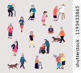 cartoon elderly men and women... | Shutterstock . vector #1193433865