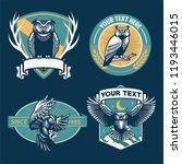 Stock vector owl badge design set 1193446015