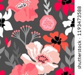 Stock vector pink and grey floral composition seamless vector pattern with large flowers branches and leaves 1193473588