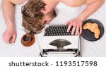 man sleepy lay bedclothes while ... | Shutterstock . vector #1193517598