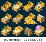 set cartoon wooden isometric...