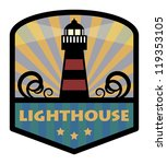 Label With Lighthouse  Vector...