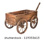 One Vintage Wooden Cart...