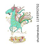 unicorn card with colorful text ... | Shutterstock .eps vector #1193593702